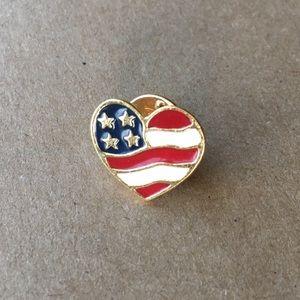 Red White Blue Patriotic Heart Flag AVON Pin